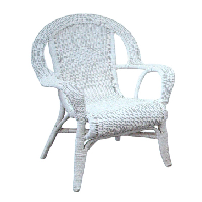 Syracuse Hi-Back Wicker Armchair, White