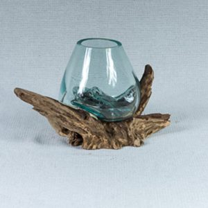Terrarium Vase - Melted Glass on Wood