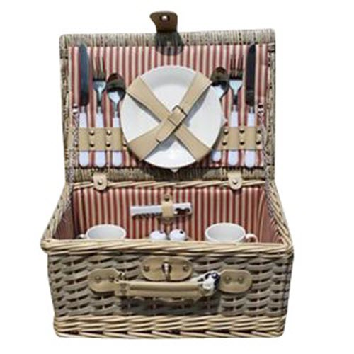 2 Place Grey Wash Willow Picnic Hamper