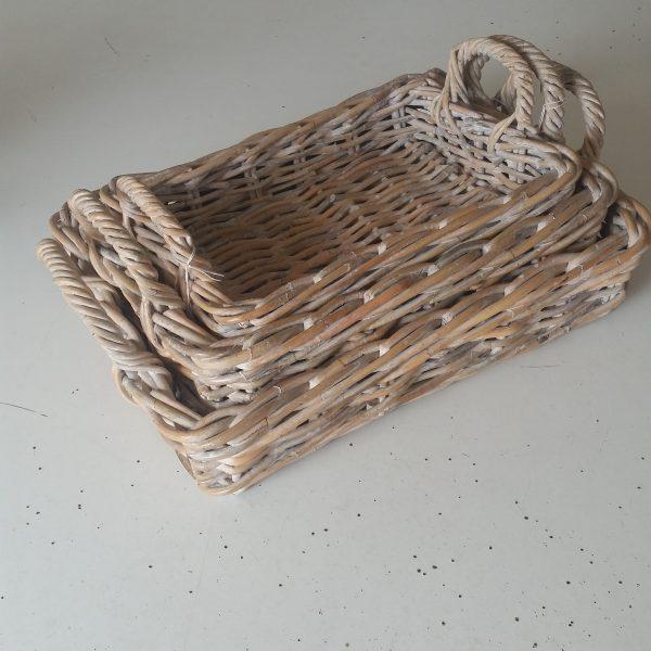 Tray Rattan Rectangular with Handles, Whitewash Small