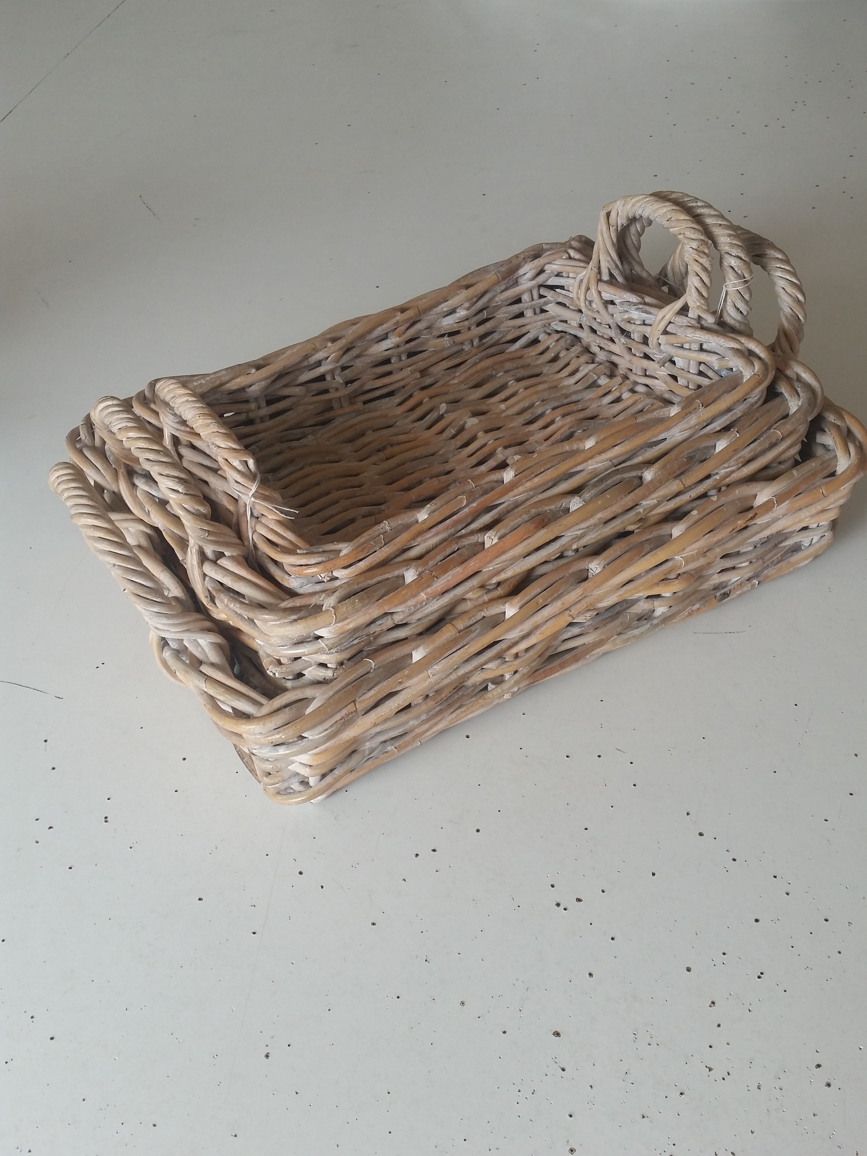 Tray Rattan Rectangular with Handles, Whitewash Small
