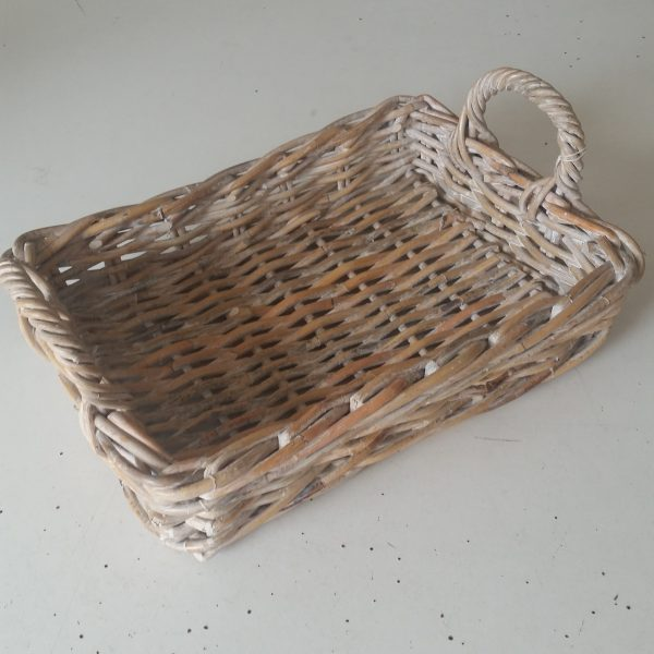 Tray Rattan Rectangular with Handles, Whitewash Medium