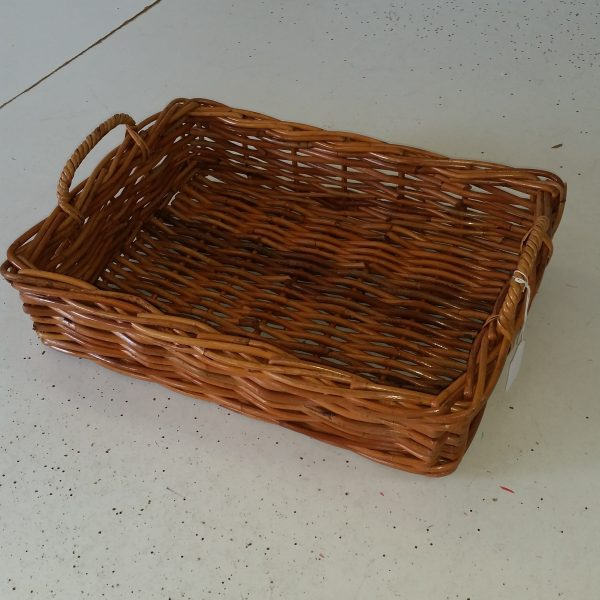 Tray Rattan Rectangular with Low Handles, Natural Small
