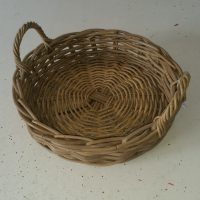 Tray Rattan Round with Handles, Kuba Grey - Small