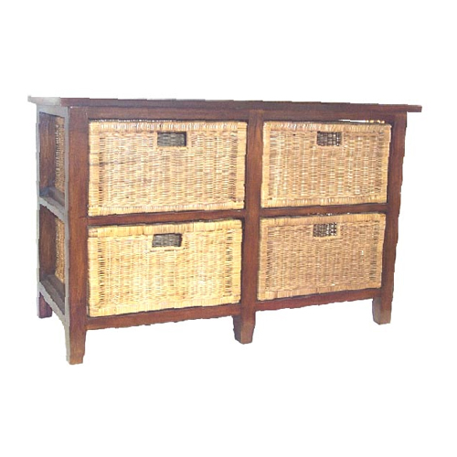 Raffles 4 Drawer Wide Low Chest, ANTIQUE