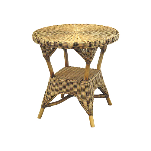 Grand Bermuda Round Side Table, with Shelf