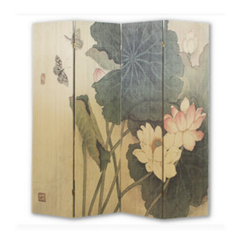 4 Panel Bamboo Screen - Lotus