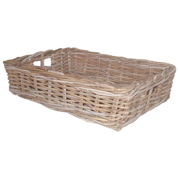 Rattan Tray, Grey Kubu, Medium