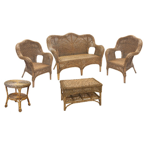 Windsor High Back Wicker Suite
