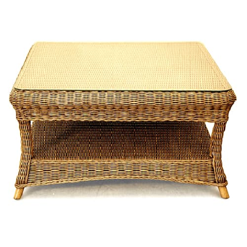 como square cane coffee table with glass - cobra cane