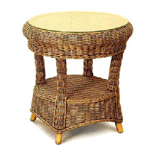 como round cane side table with glass - cobra cane