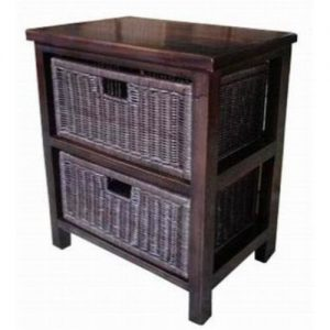 Annalise Two Drawer Cabinets - Rattan Drawers