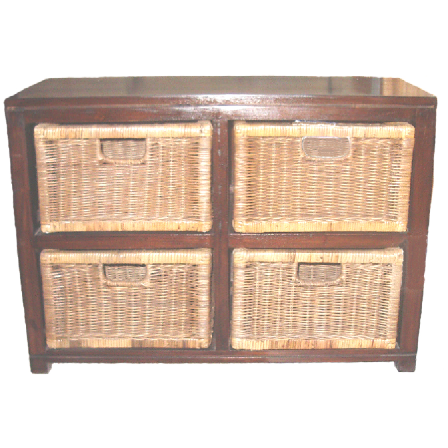 Classic 4 Drawer LOW Dresser, Walnut stain