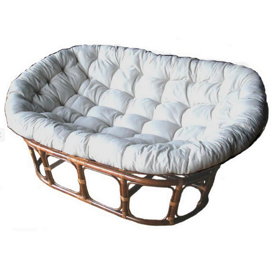 Papasan SETTEE Antique Brown Stained Frame & Kapok Cushion
