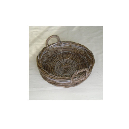 Round Rattan Tray, Grey Kubu, Medium