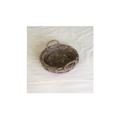 Round Rattan Tray, Grey Kubu, Small