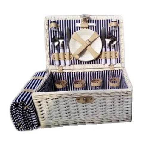 White washed willow picnic basket with blanket
