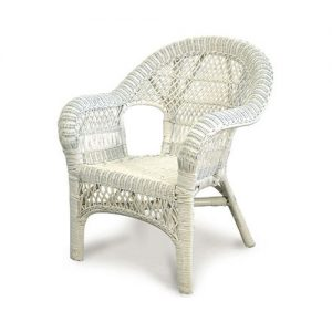 Lattice Wicker Chair, White
