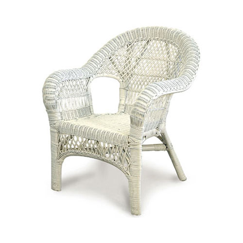 lattice wicker chair, white - cobra cane