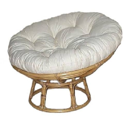 Papasan Chair Natural Frame, Calico & Dacron Cushion