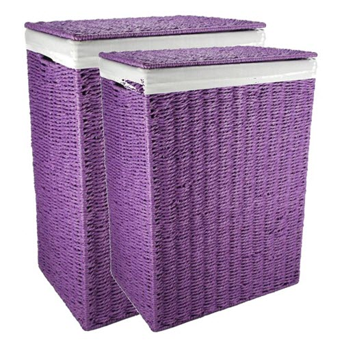 Purple Paper Rope Laundry Hamper
