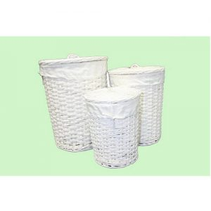 Round White Willow Laundry Hampers