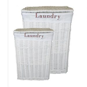 Rectangular White Willow Laundry Hampers