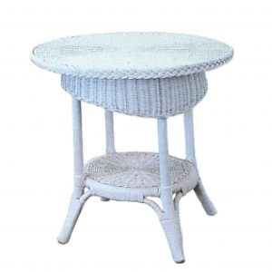 Syracuse Wicker Table, White