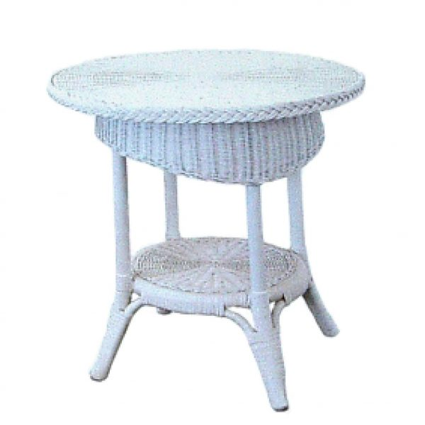 Syracuse Wicker Table, White
