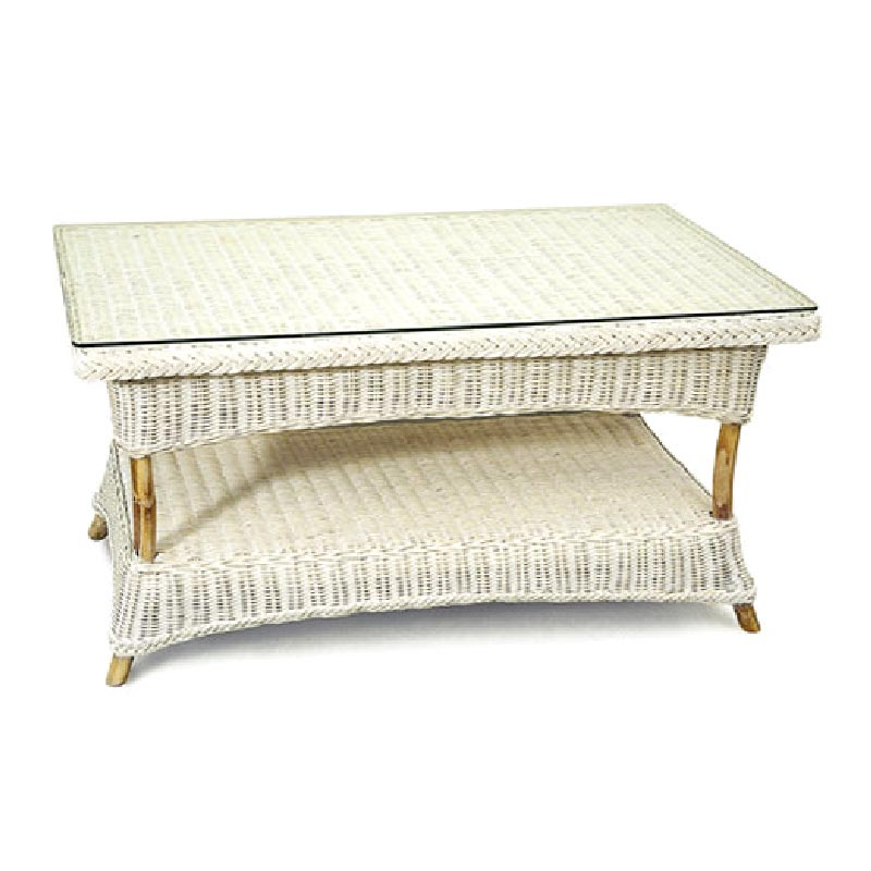 Venice Wicker Coffee Table, White Wash