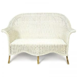 Venice Wicker Settee, White Wash