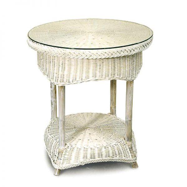 Venice Wicker Side Table, White Wash