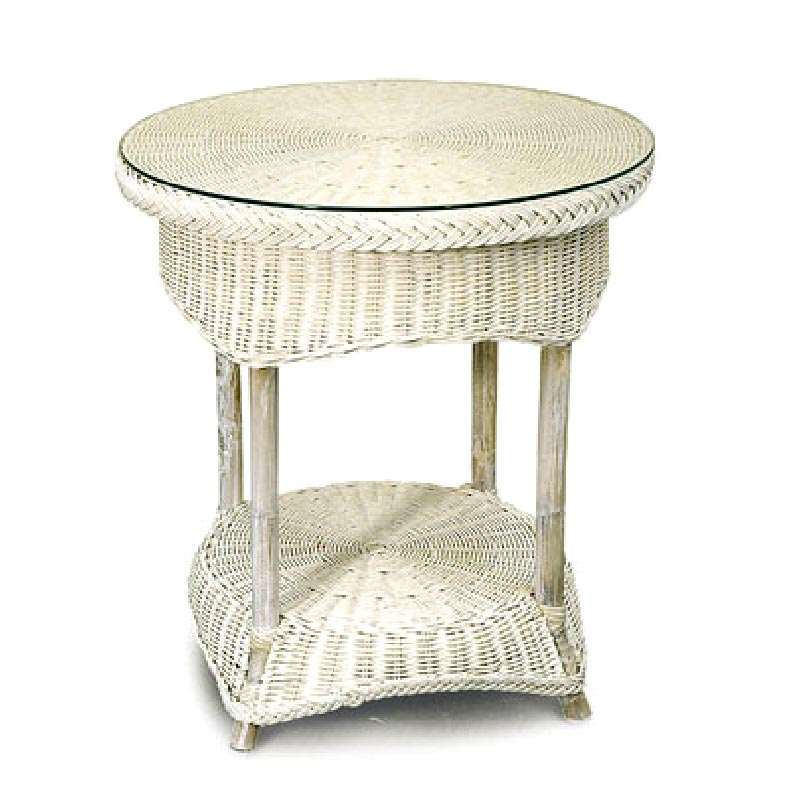 Venice Wicker Side Table, White Wash