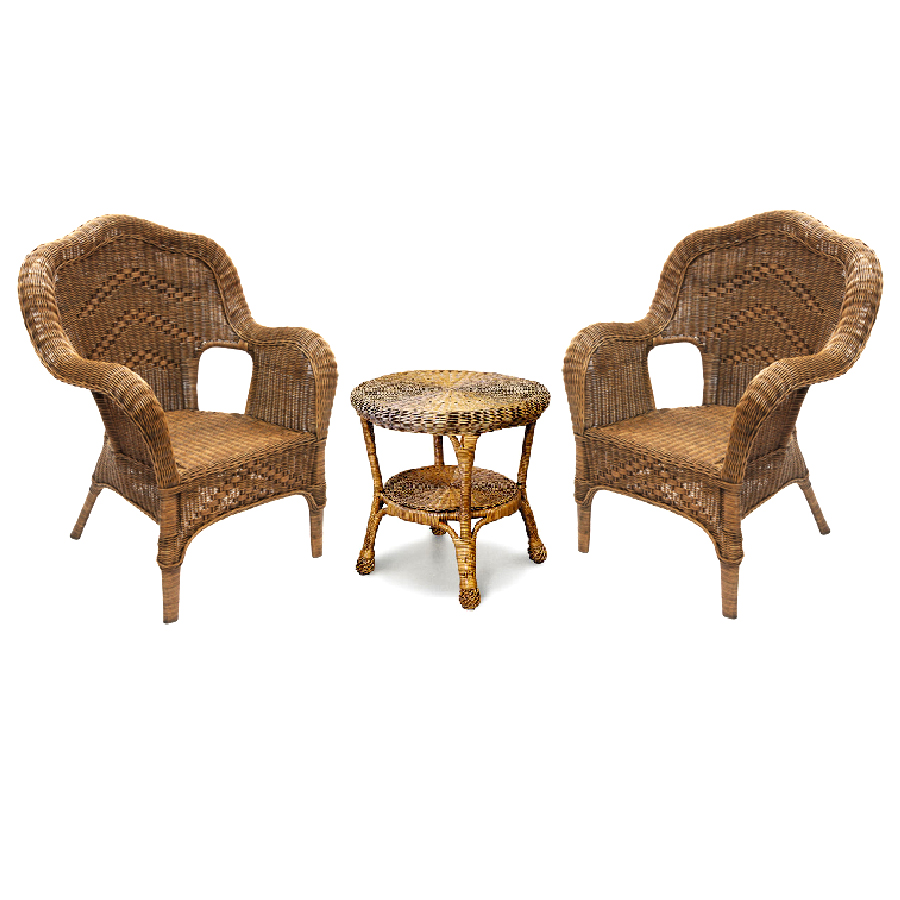 Windsor 3pce Wicker Chair Set