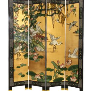 4 Panel Black & Gold Lacquer Screen - White Cranes