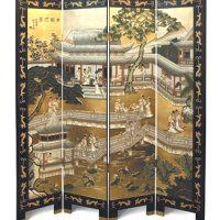 4 Panel Black & Gold Lacquer Screen - Palace Garden