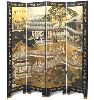 4 Panel Black & Gold Lacquer Screen - Palace Garden