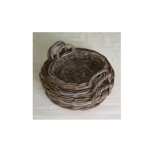 Round Rattan Tray, Grey Kubu, Large