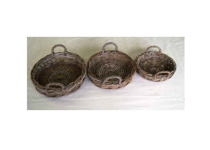 Round Rattan Tray, Grey Kubu, Medium