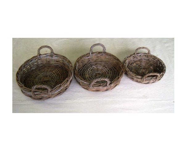 Round Rattan Tray, Grey Kubu, Small