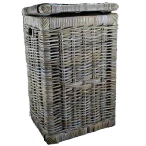 Rectangular Laundry Hamper With Lid Kubu Grey Cobra Cane