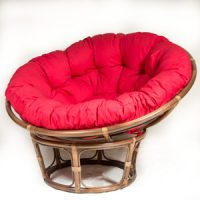 Walnut Papasan Chair with Red Kapok Cushion
