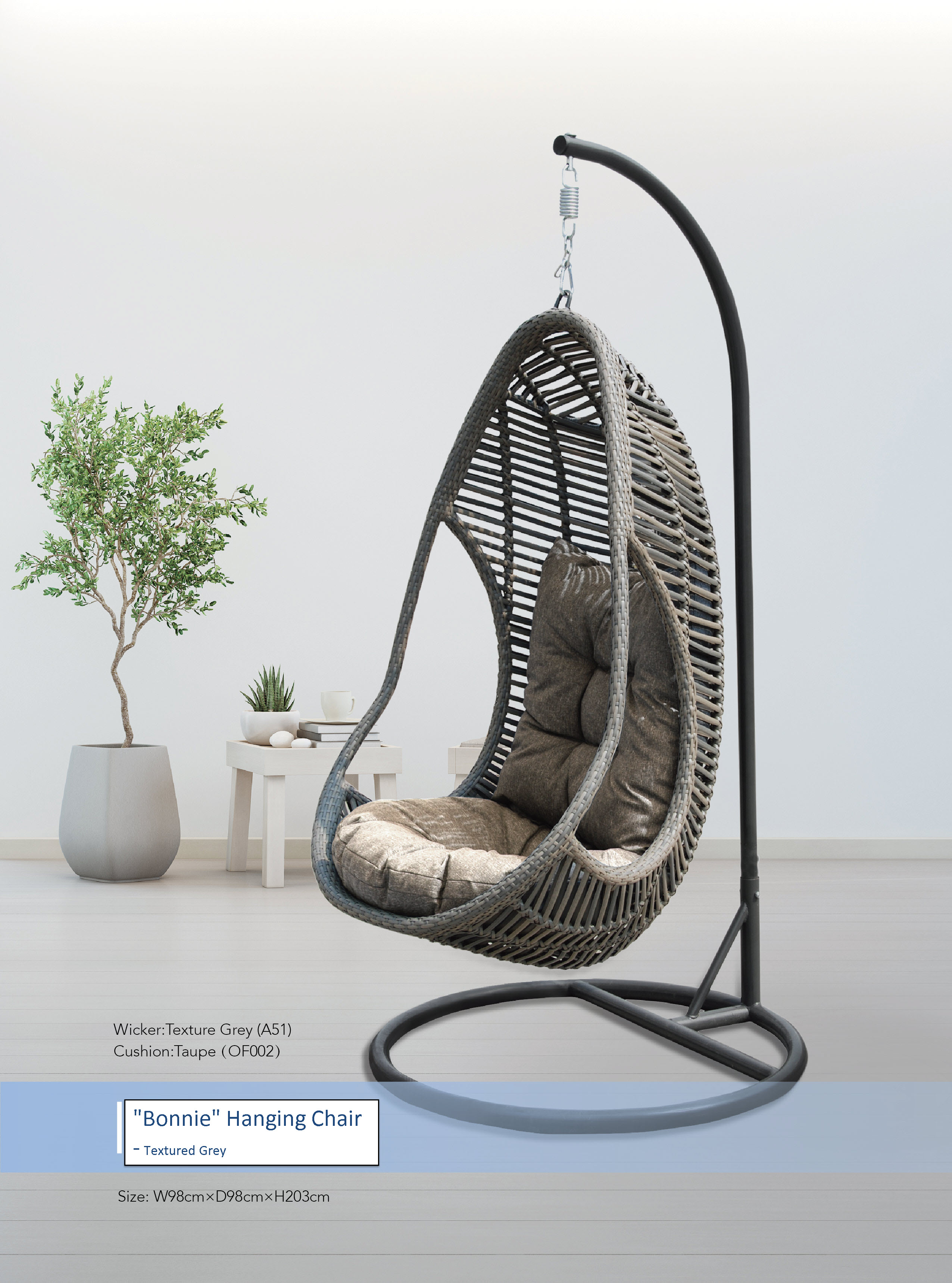 Bonnie Hanging Chair Textured Grey Cobra Cane